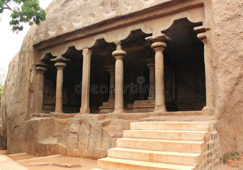 Cave hall. Ancient monuments -UNESCO World Heritage centre- Group of Monuments at Mahabalipuram- Founded by the Pallava kings, was carved out of rock along the royalty free stock photo