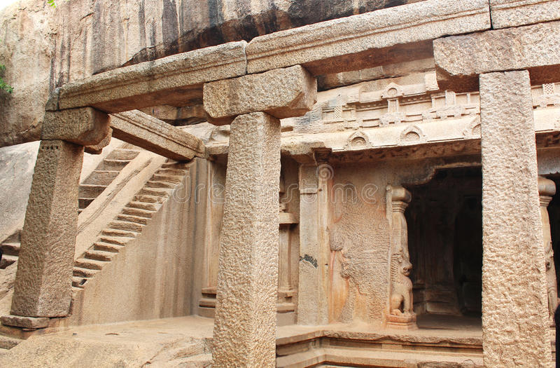 Cave hall. Ancient monuments -UNESCO World Heritage centre- Group of Monuments at Mahabalipuram- Founded by the Pallava kings, was carved out of rock along the royalty free stock photography