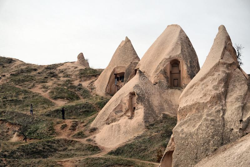 Uchisar. Cave Homes in Uchisar, Cappadocia stock photo
