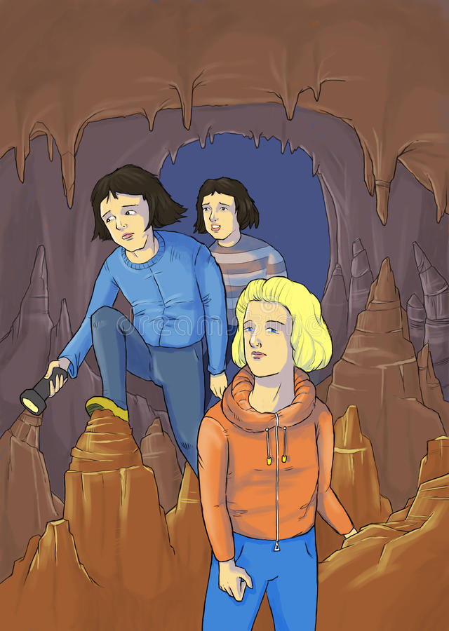 Cave 2. Illustration of a few friends lost in a cave vector illustration
