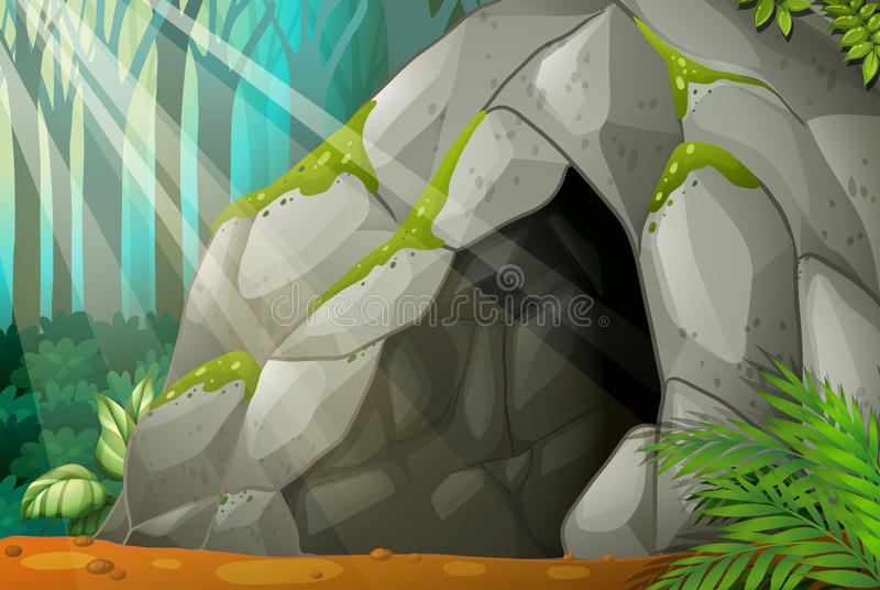 A cave. Illustration of a cave in the wood vector illustration