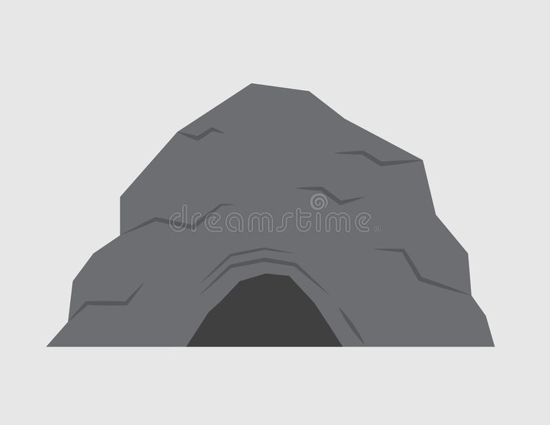 Cave. Isolated stone cave with gray background vector illustration
