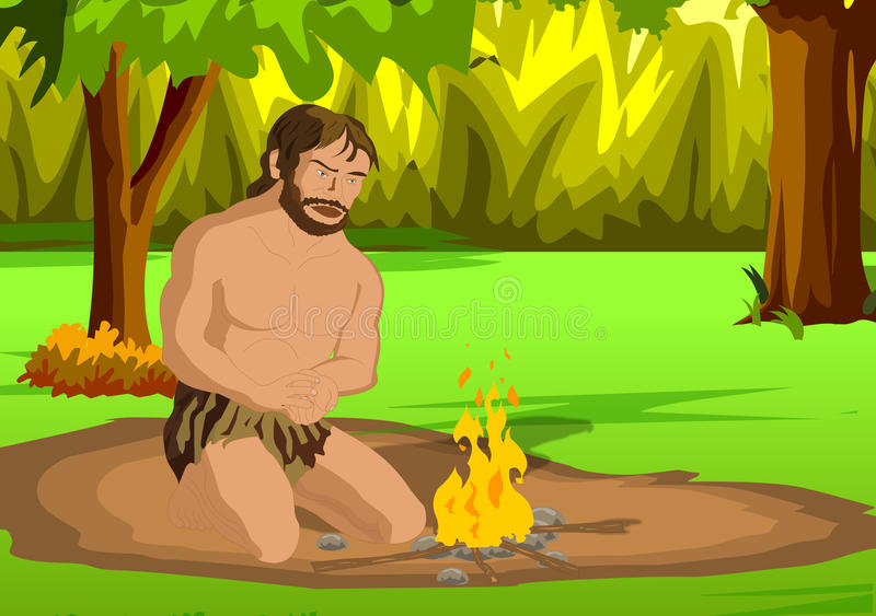 Cave man. Invention of fire vector illustration