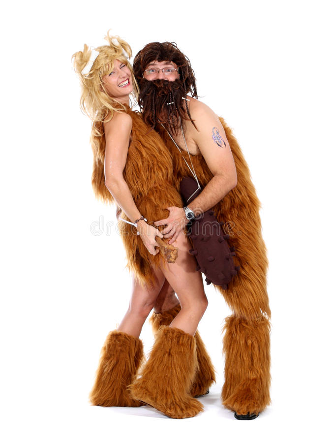 Download Cave man and cave woman stock image. Image of disguise - 18608553