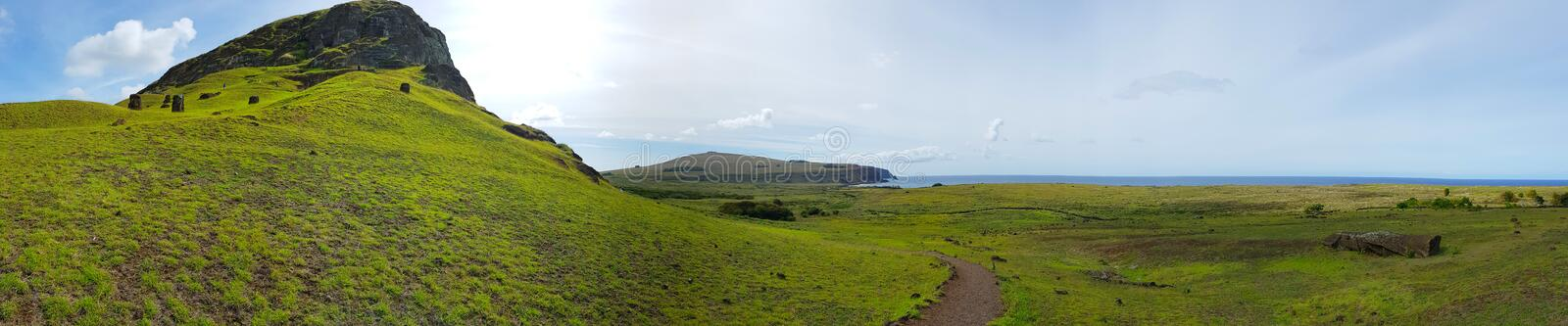 The cave of the moais of the Rano Raraku volcano, Easter Island, Chile royalty free stock image