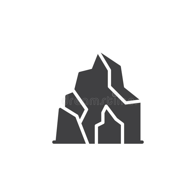 Cave in mountain vector icon. Filled flat sign for mobile concept and web design. Prehistoric cave home simple solid icon. Symbol, logo illustration. Pixel royalty free illustration
