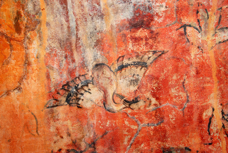 Download Cave painting bird 1 stock image. Image of ancient, yellow - 3182629