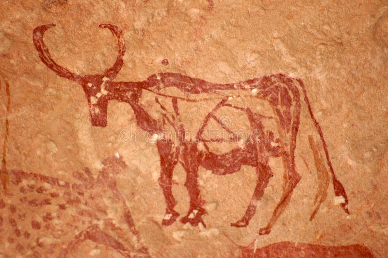 Cave Painting of Bull stock photo