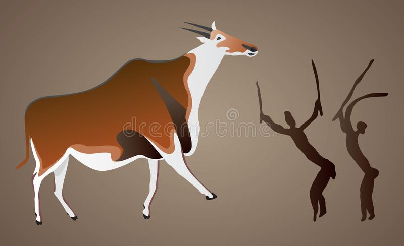 Cave Painting if the San Bushman vector illustration