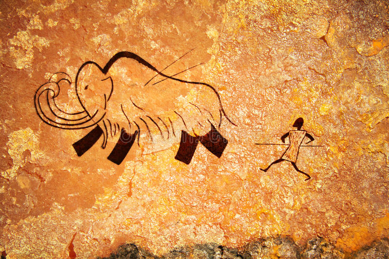 Download Cave Painting Of Primitive Hunt Stock Image - Image: 25057391