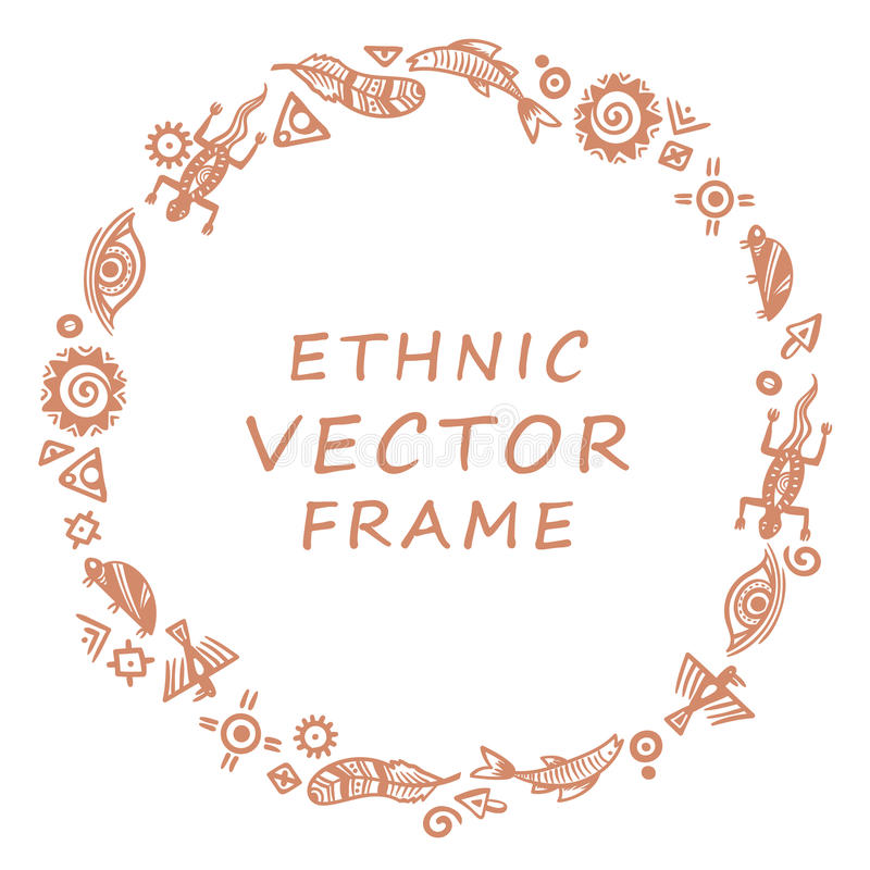 Cave Painting Symbols Round Frame For Text Stock Vector