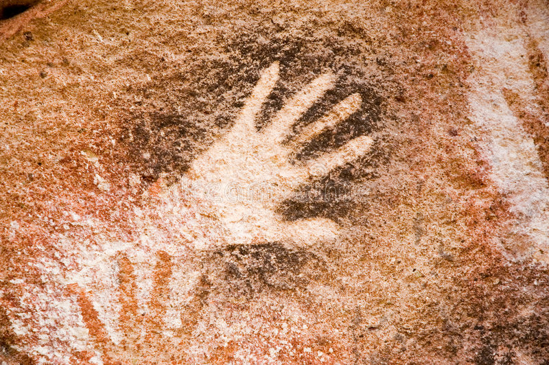 Cave paintings in Argentina stock photography
