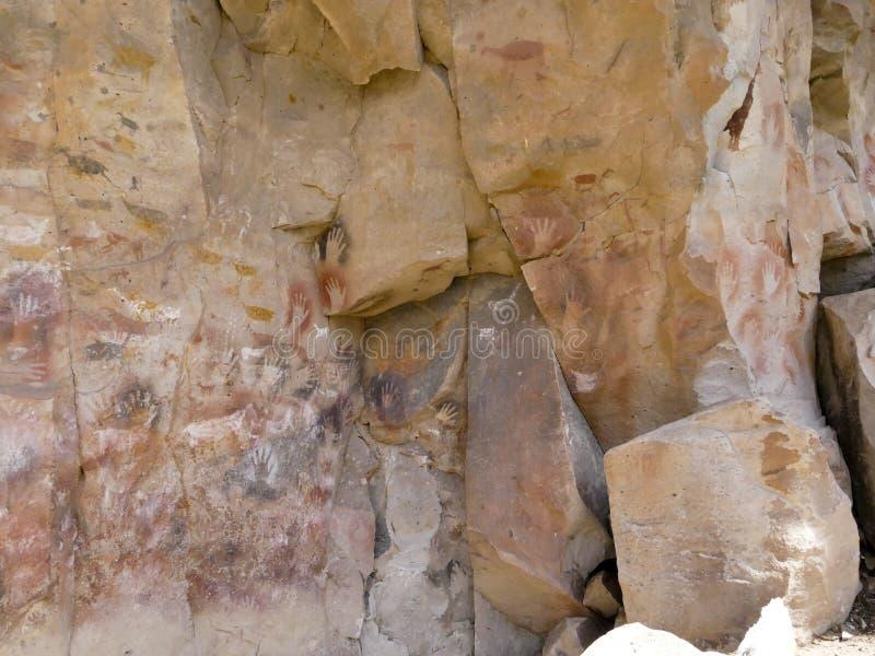 Cave paintings in Patagonia, Argentina, Cueva de las Manos stock photos