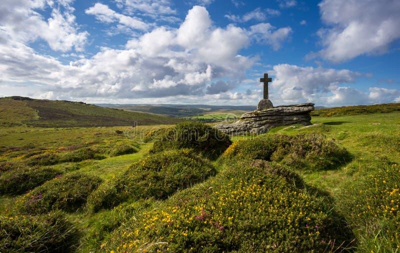 Cave Penney Cross Dartmoor. Cave Penney Cross in Dartmoor National Park Devon stock image
