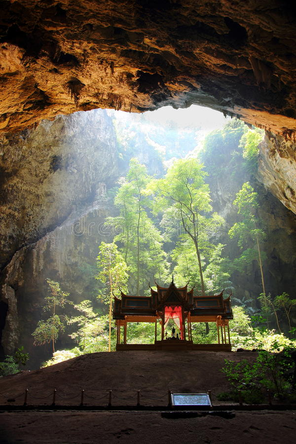 Cave with shrine. In the Nationalpark Khao Sam Roi Yot is the natural cave Phraya Nakhon. The picture shows the shrine in the cave with the trees that are royalty free stock photography