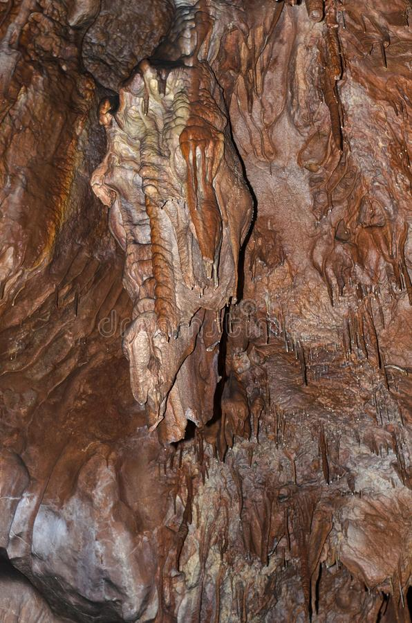Cave. Small stalagmite and stalactite in the cave stock photography