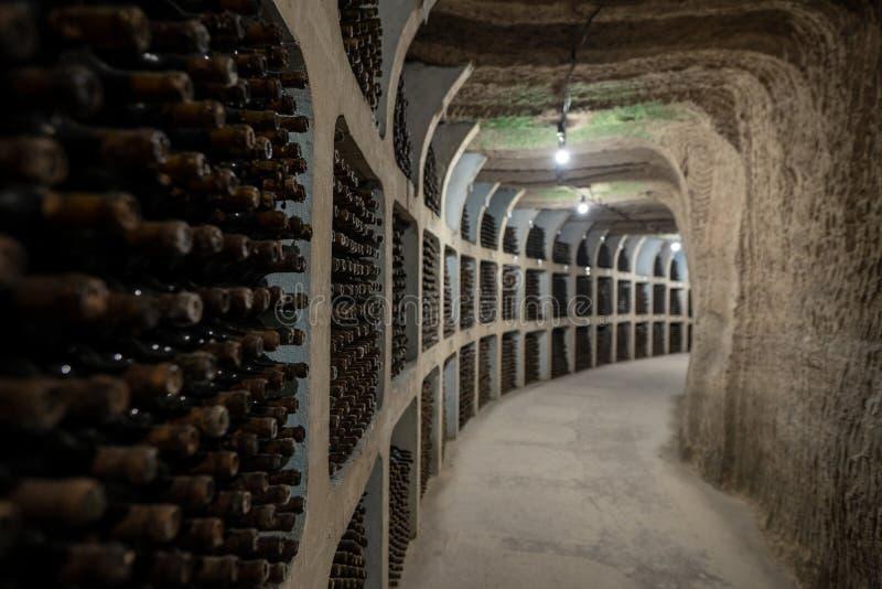 Cave souterraine avec les bouteilles de vin de vieillissement dans des supports photo stock