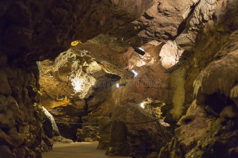 Cave System Lit with Lights. The Lummelunda Cave System Lit with Lights. In Gotland, Sweden stock photo