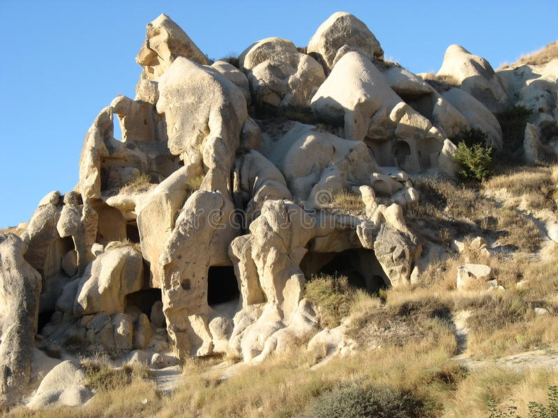 Cave town of Goreme in Turkey stock photo