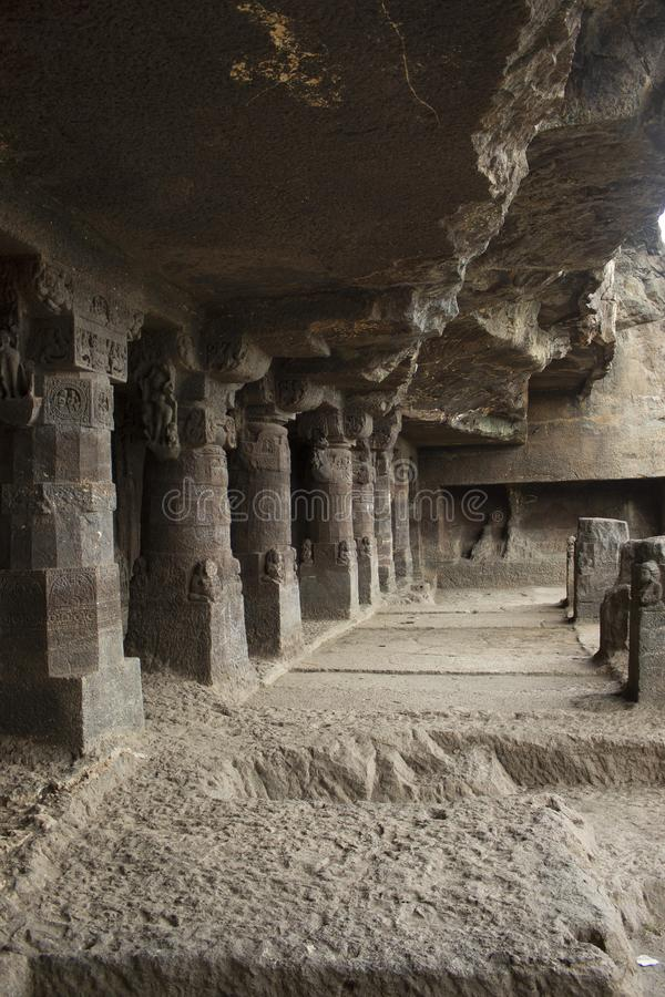 Cave1, View of the porch and area in front, Aurangabad caves, Western Group, Aurangabad, Maharashtra, India stock photography