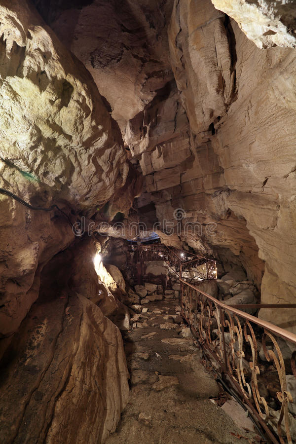 Cave. Vorontsovskaya cave system - the system of caves, located on the Vorontsov ridge in the Khosta and Adler districts of Sochi, Krasnodar Krai, Russia royalty free stock image