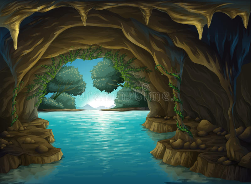 A cave and a water. Illustration of a cave and a water in a beautiful nature stock illustration