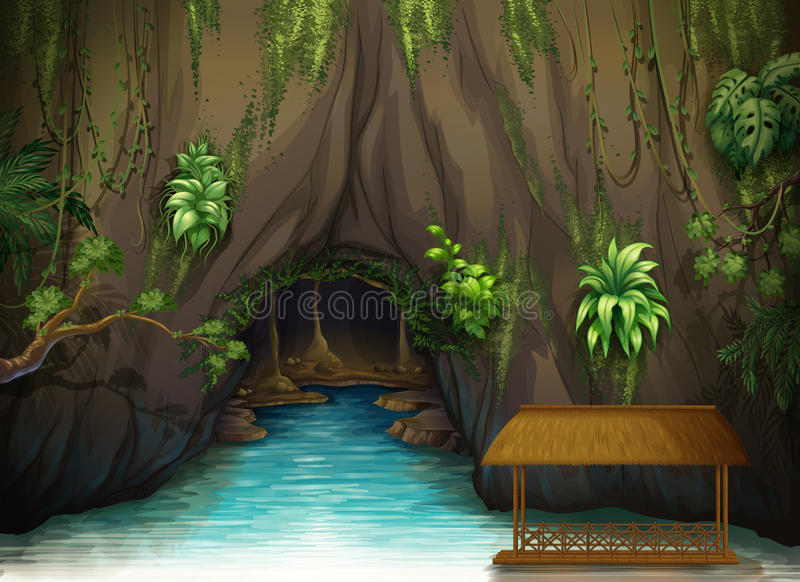 A cave, a water and a wooden shade. Illustration of a cave, a water and a wooden shade in a beautiful nature vector illustration
