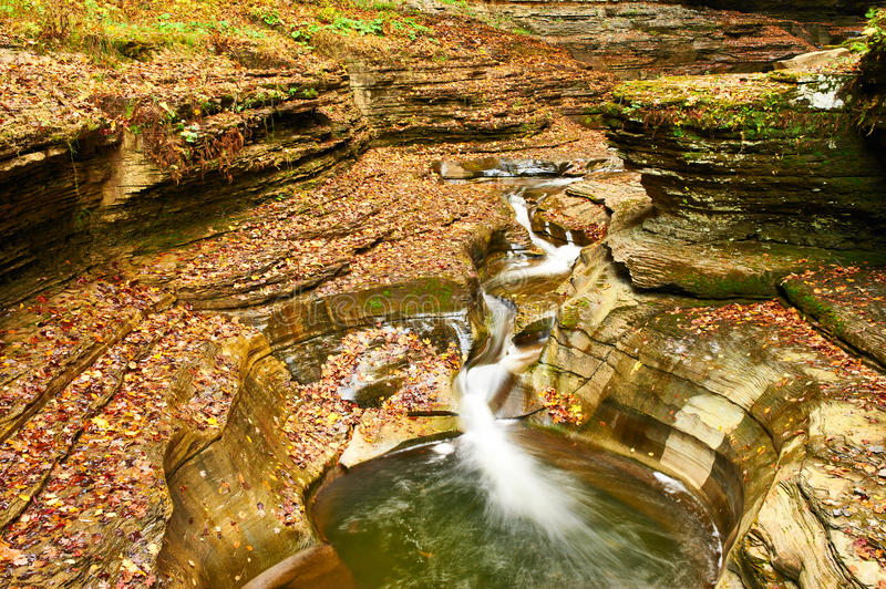 Cave waterfall at Watkins Glen state park royalty free stock photo