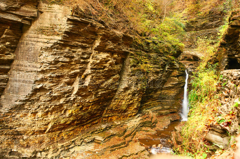 Cave waterfall at Watkins Glen state park royalty free stock image