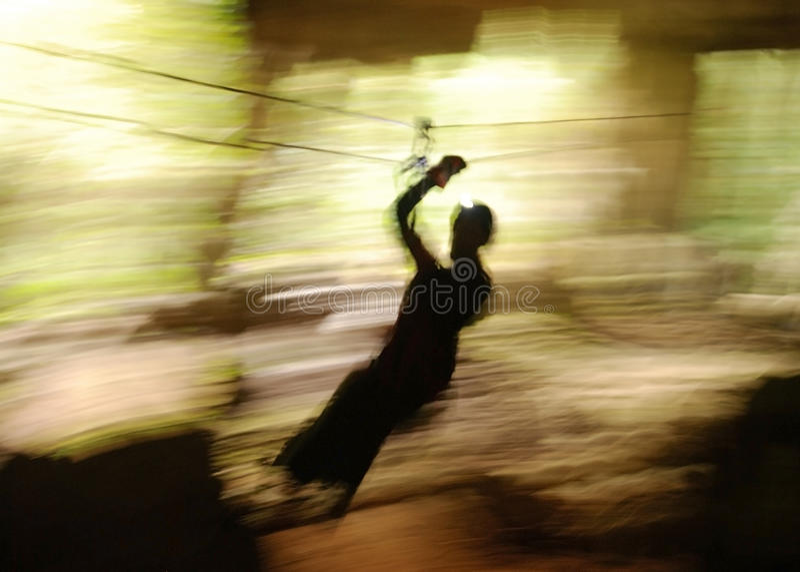 Cave Zip Line. The zip line adventure through Lost Mayan Caves in Belize stock images