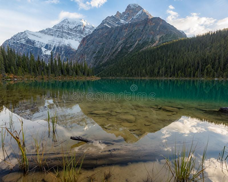 Caveil Sky Reflections. Cavell Lake mountain reflections in autumn, with under water shore detail royalty free stock photos