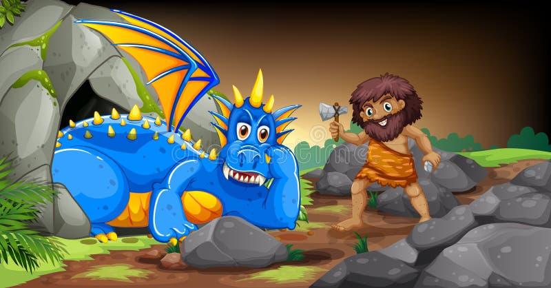 Caveman και δράκος διανυσματική απεικόνιση