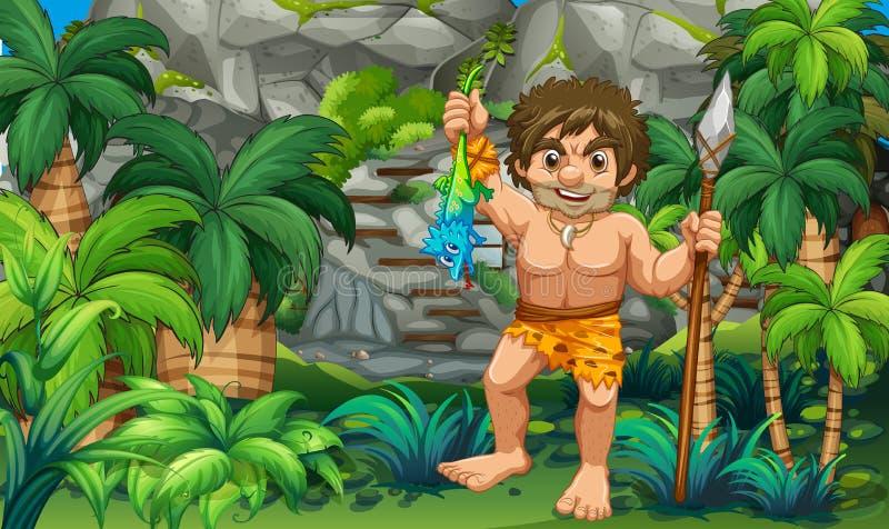 Caveman που πιάνει τη σαύρα στο δάσος απεικόνιση αποθεμάτων