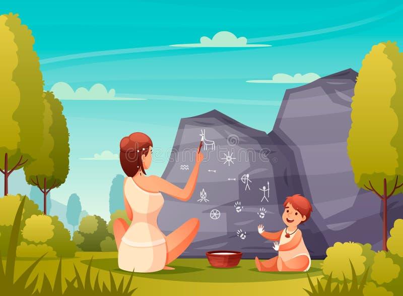 Caveman που χρωματίζει την επίπεδη σύνθεση απεικόνιση αποθεμάτων