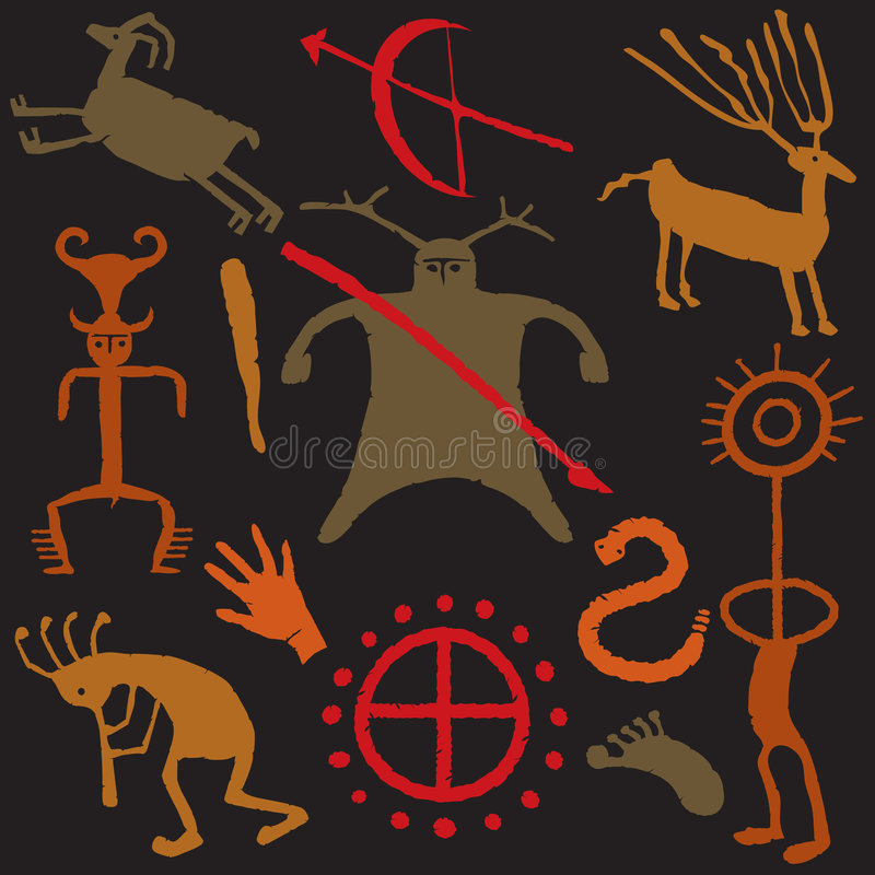 caveman σχέδια σπηλιών απεικόνιση αποθεμάτων