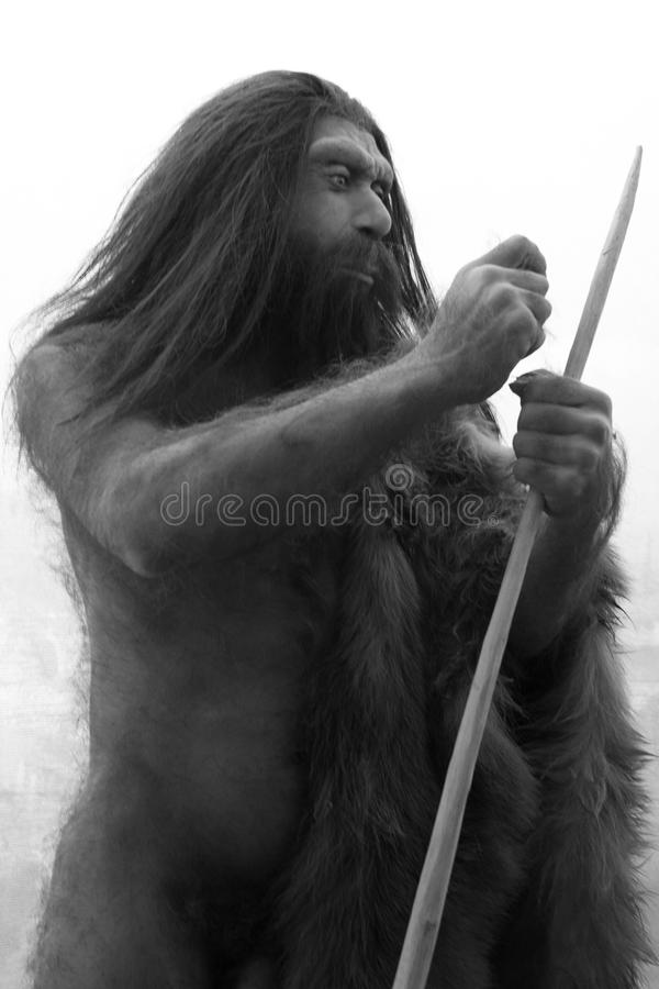 Caveman. Model in exhibition at the New York Natural History Museum in Manhattan, USA attracts hundreds of tourists everyday
