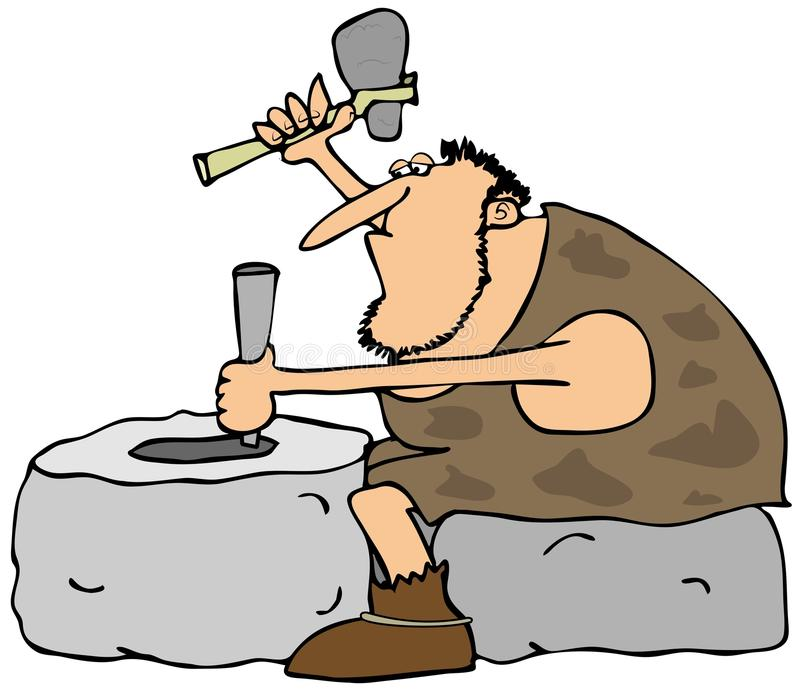 Download Caveman Carving A Wheel Royalty Free Stock Images - Image: 36118049