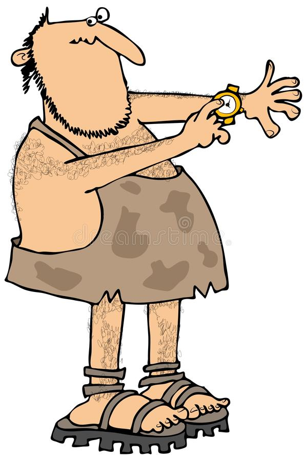 Download Caveman checking the time stock illustration. Illustration of illustration - 41558641