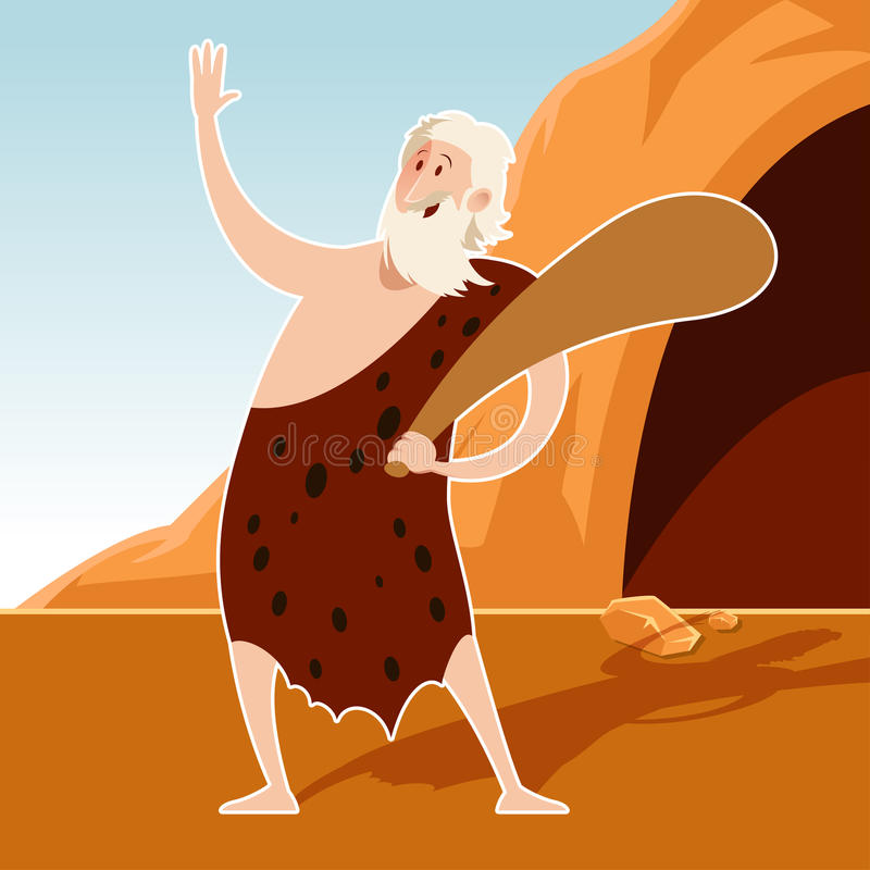 Caveman and a cove. Vector image of the Caveman and a cove stock illustration