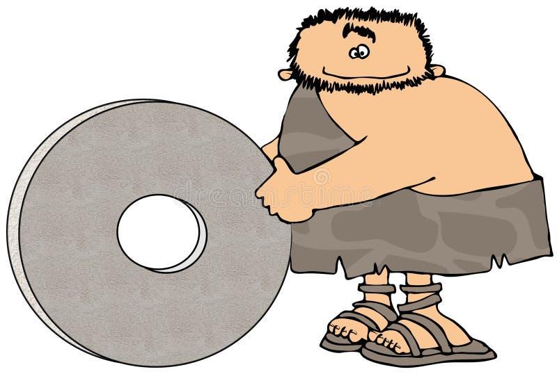Caveman e la rotella illustrazione di stock
