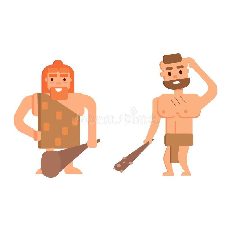 Caveman ery kamienia łupanego pierwotni ludzie ilustracji