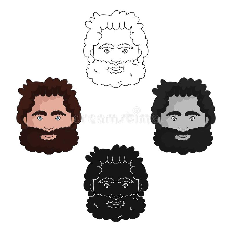 Caveman face icon in cartoon,black style isolated on white background. Stone age symbol stock vector illustration. Caveman face icon in cartoon,black style vector illustration