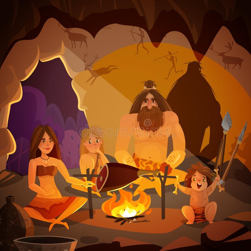 Caveman Family Cartoon Illustration. Cartoon poster with caveman family dressed in animal pelt cooking meat on campfire in cave vector illustration vector illustration