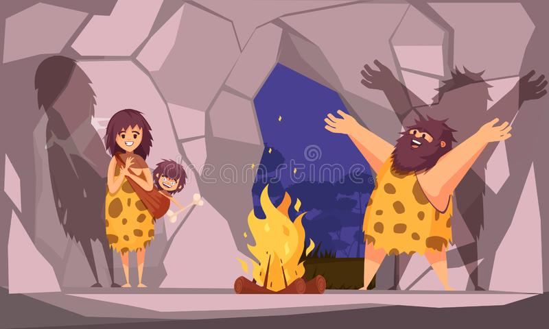 Caveman Family In Cave. Cartoon poster with caveman family dressed in animal pelt collected around the fire in cave vector illustration vector illustration
