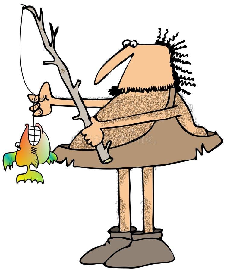 Caveman fisherman stock illustration