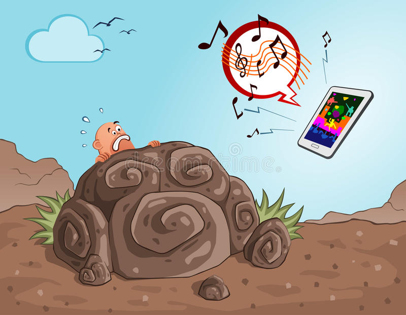 Caveman get scared seeing a gadget. Prehistoric age of caveman get scared and hiding seeing an operated gadget royalty free illustration
