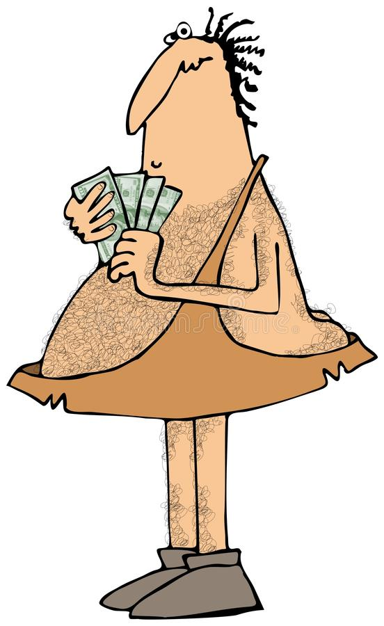 Caveman with a handful of money royalty free illustration
