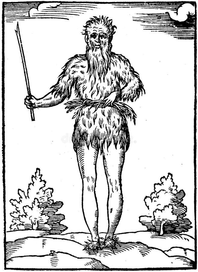 Caveman holding stick stock photography