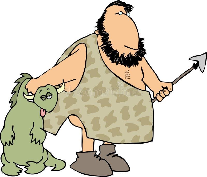 Caveman hunter stock illustration
