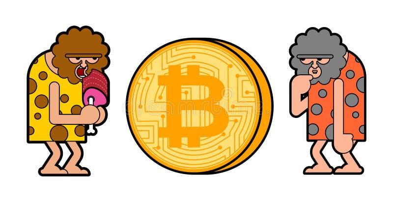 Caveman i bitcoin Prehistoryczny mężczyzna i cryptocurrency Antyczna mężczyzna myśl royalty ilustracja